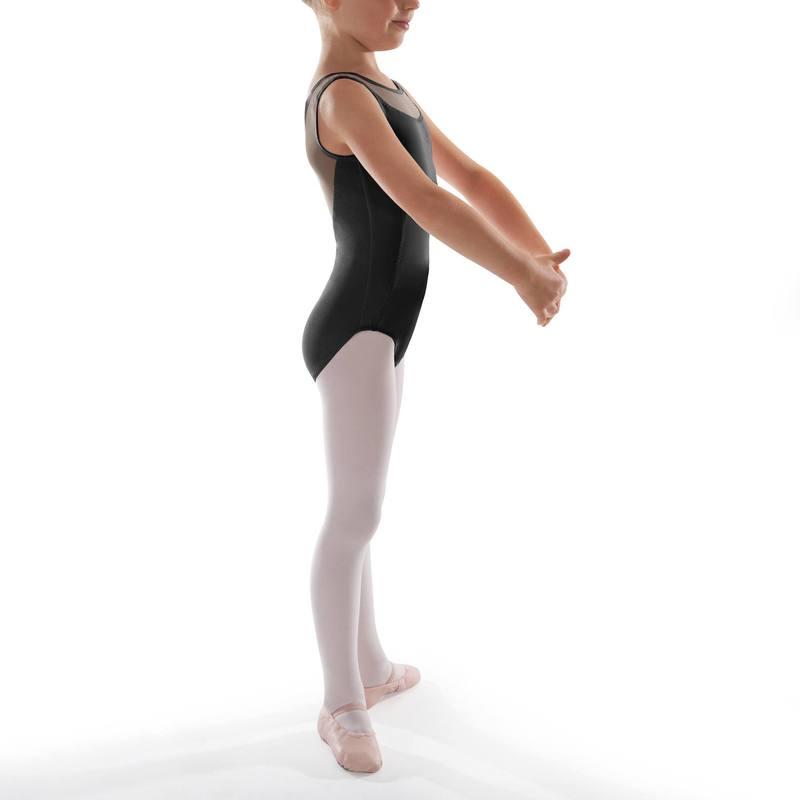 Payasito de danza clásica manga corta negro para niña - Decathlon 1791353d40f