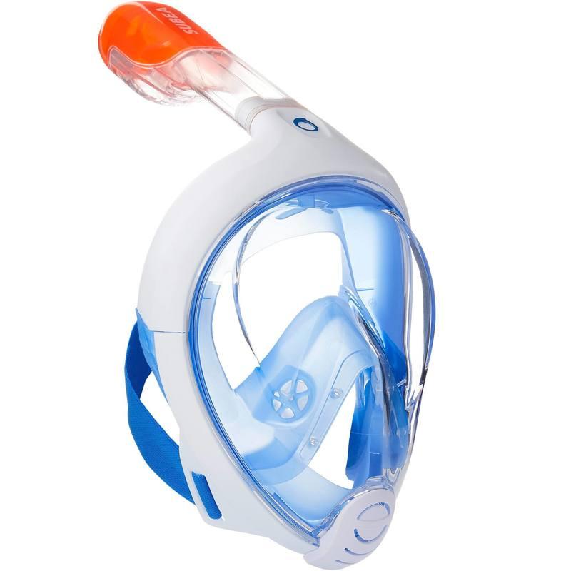 1cb0deb9c Máscara de snorkeling Easybreath® Azul Blanco - Decathlon
