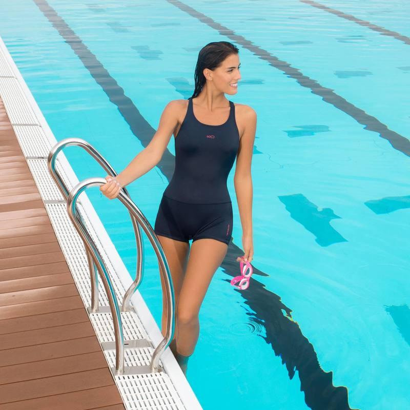 c751233c0 ... Traje de baño completo de natación una pieza para dama azul oscuro ...