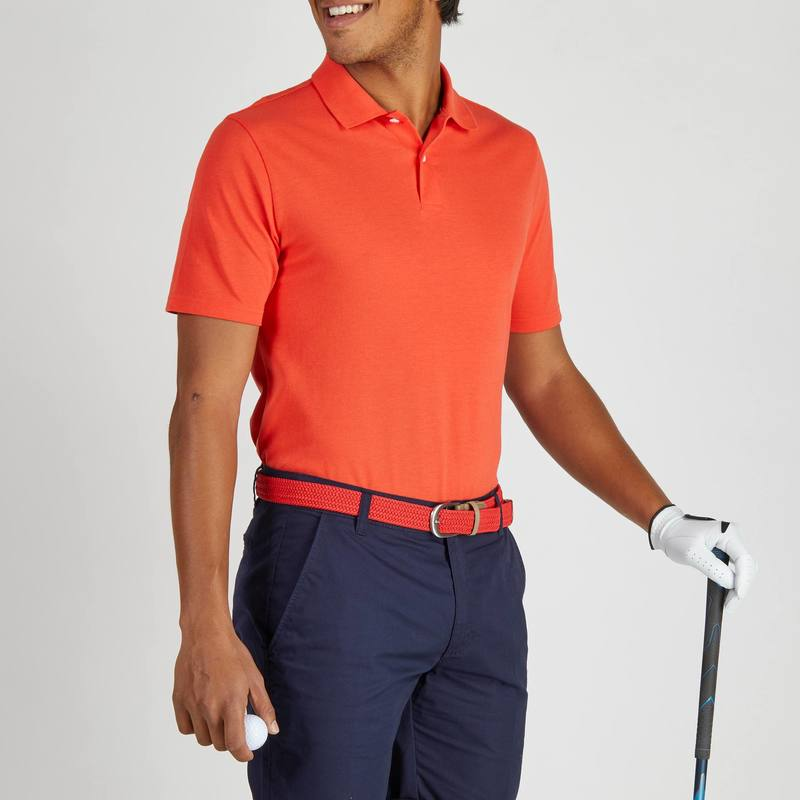 Polo de golf para hombre manga corta 500 - clima caluroso - rojo ... 4ebad574200bc