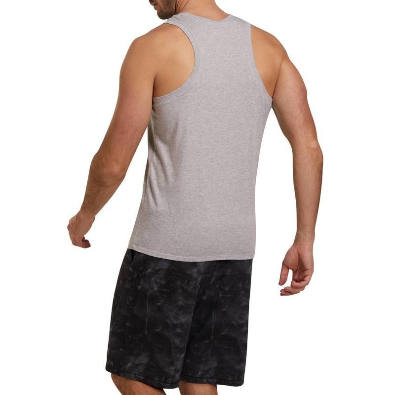 ... Playera sin mangas 500 regular gimnasia y pilates hombre gris ... ddddcda863141