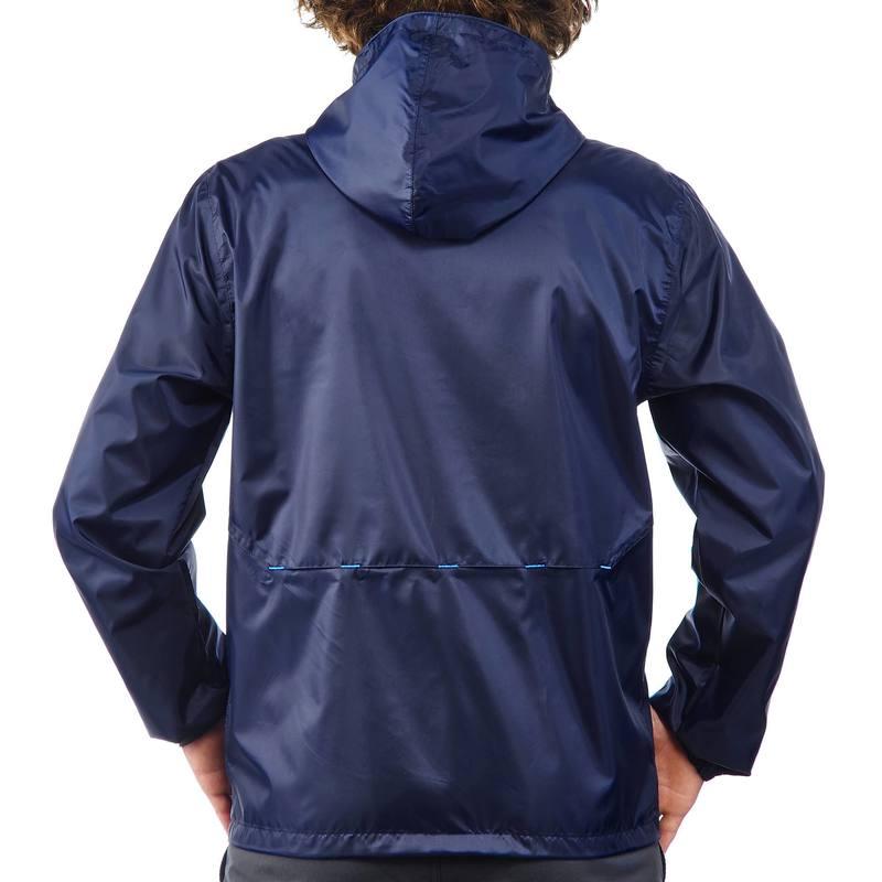 bf2f0e5ad27 ... Coupe pluie Imperméable randonnée nature homme NH100 Raincut zip marine  homme ...