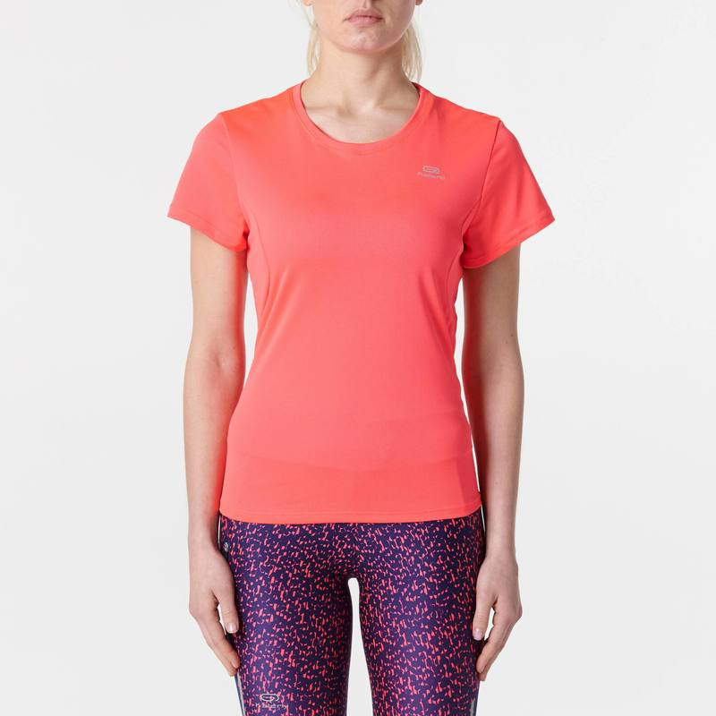 TEE SHIRT JOGGING FEMME RUN DRY CORAIL FLUO - DECATHLON TUNISIE 6500e6ff738